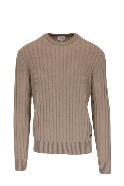 Brioni - Tan Cashmere Ribbed Crewneck Sweater