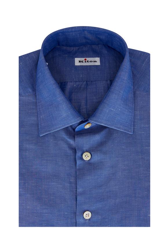 Kiton Dark Blue Cotton Dress Shirt