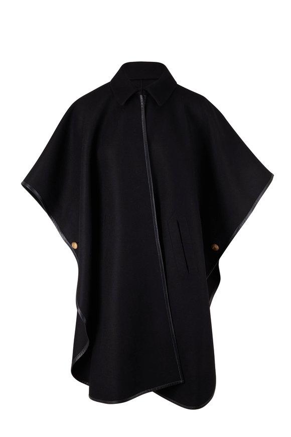 Saint Laurent Black Cashmere & Leather Cape