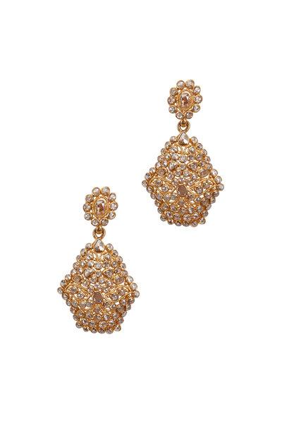 Loriann - Yellow Gold & Siver Hexagonal Diamond Earrings