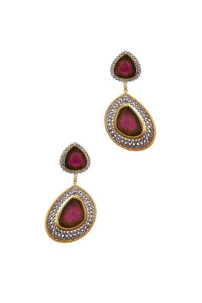 Loriann - Yellow Gold Watermelon Tourmaline Diamond Earrings