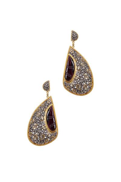 Loriann - Yellow Gold Watermelon Tourmaline Dangle Earrings