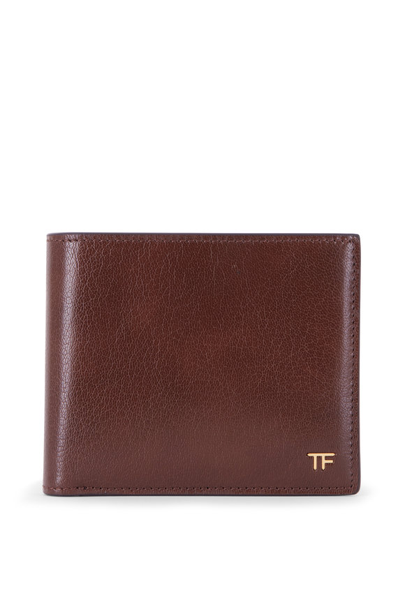 Tom Ford Brown Grained Leather Bi-Fold Wallet