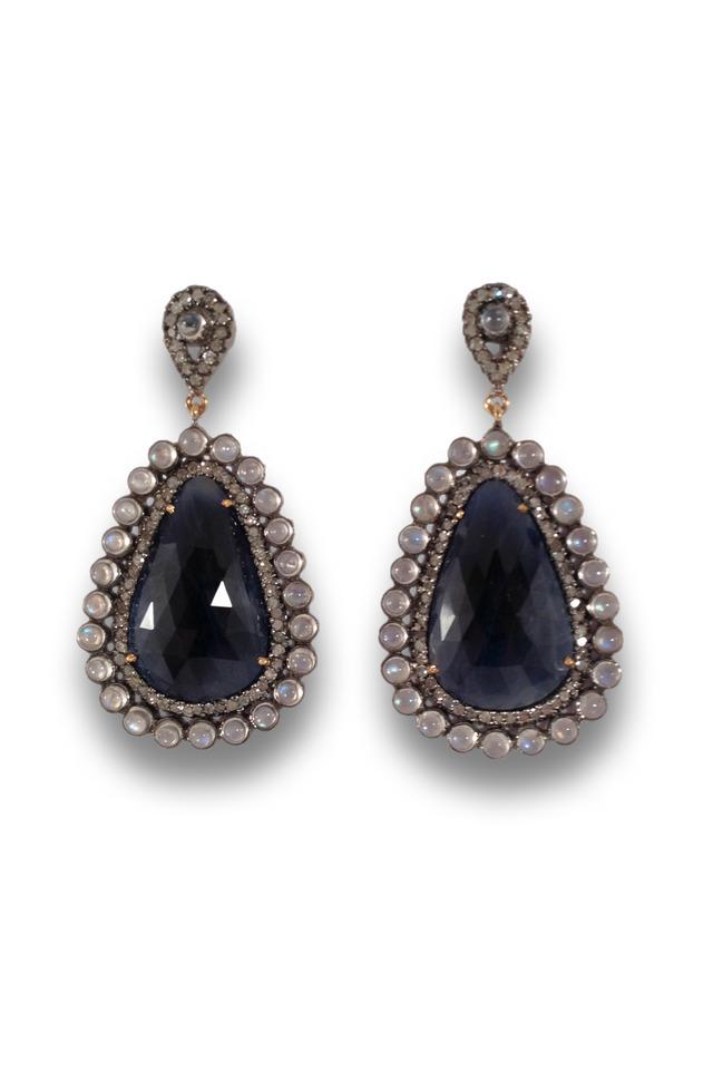 Blue Sapphire Moonstone Earrings