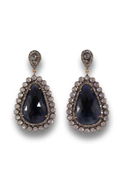 Loriann - Blue Sapphire Moonstone Earrings