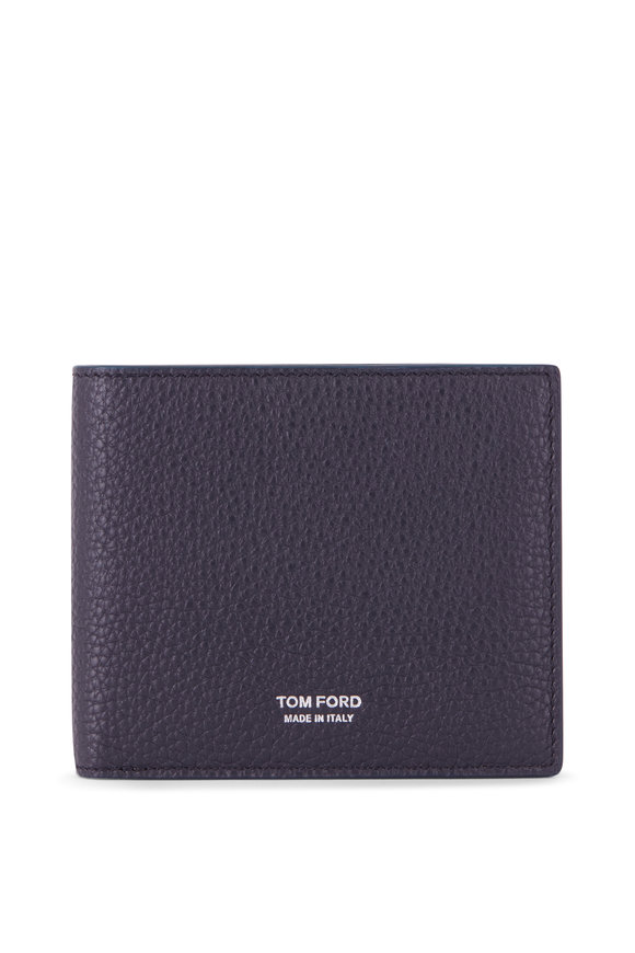 Tom Ford Navy Grained Leather Bi-Fold Wallet