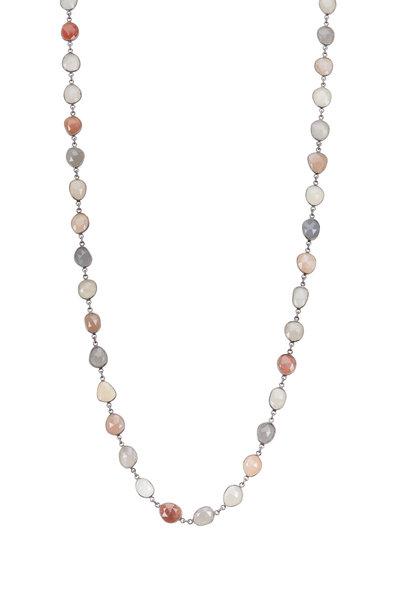Loriann - Multi Gemstone Moon Accessory Chain Necklace