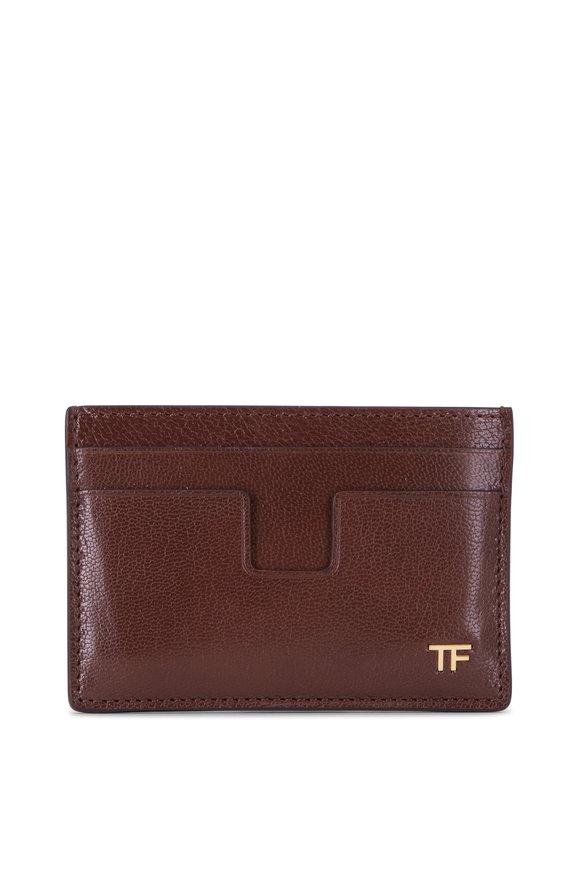 Tom Ford Brunette Leather Card Case