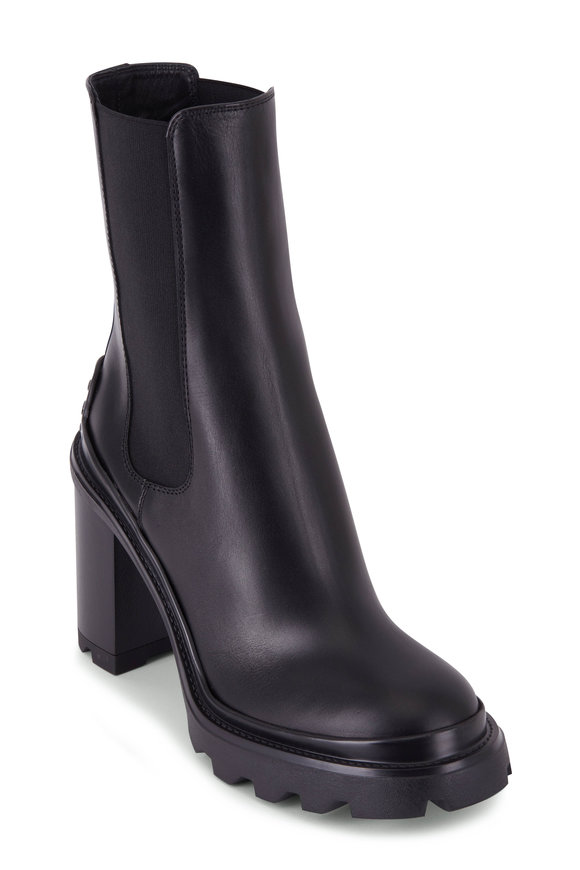 Tod's Black Leather Lug Sole Bootie, 90mm
