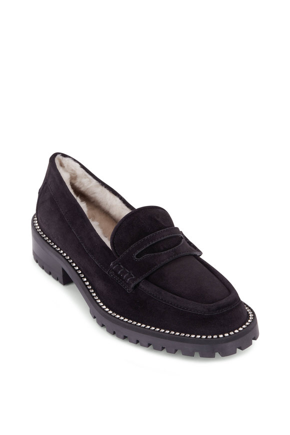 Jimmy Choo Deanna Black Suede Shearling Lined Loafer, 30mm