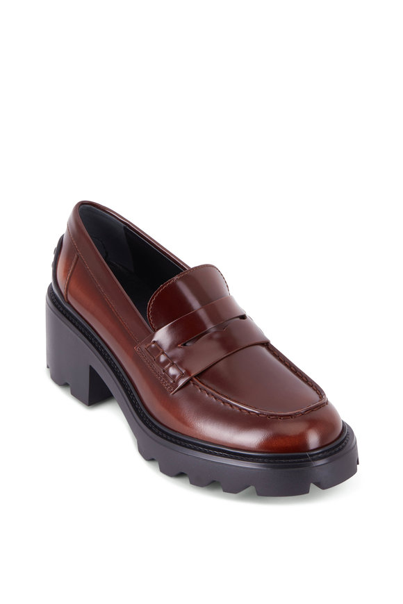 Tod's Cuoio Leather Chunky Heel Penny Loafer, 65mm