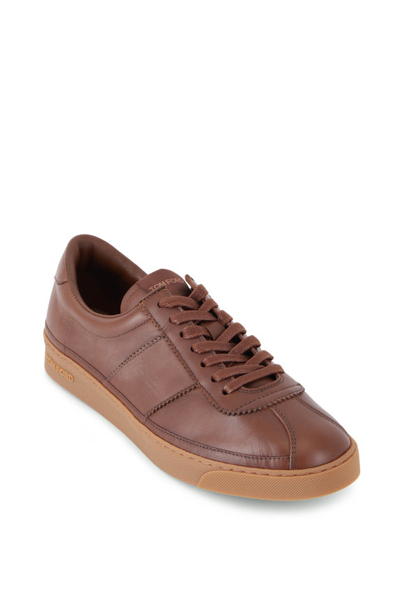 Tom Ford Brown Leather Low Top Sneaker