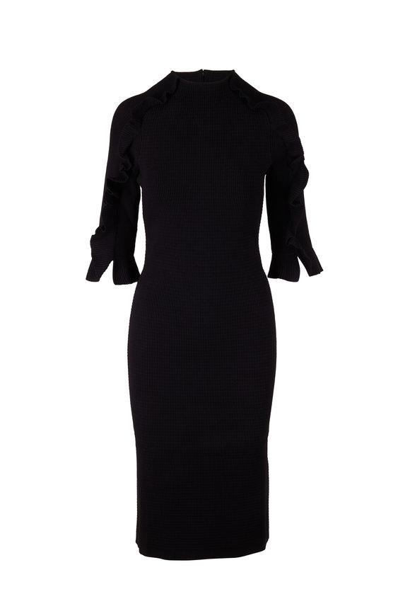 Carolina Herrera Black Crewneck Elbow Sleeve Knit Dress