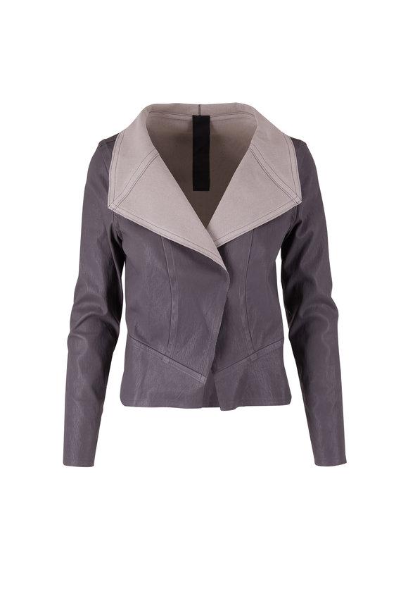 KZ_K STUDIO Gray Drape Leather Jacket