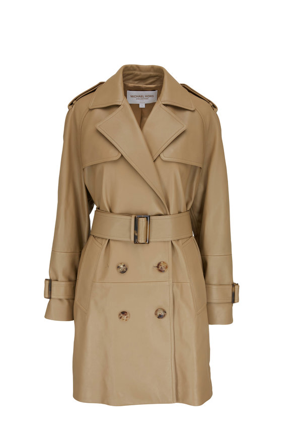 Michael Kors Collection Gail Barley Flared Leather Trench Coat