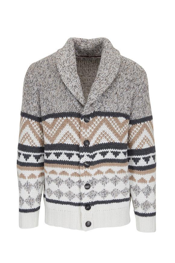 Brunello Cucinelli Cream, Tan & Gray Aztec Knit Cardigan