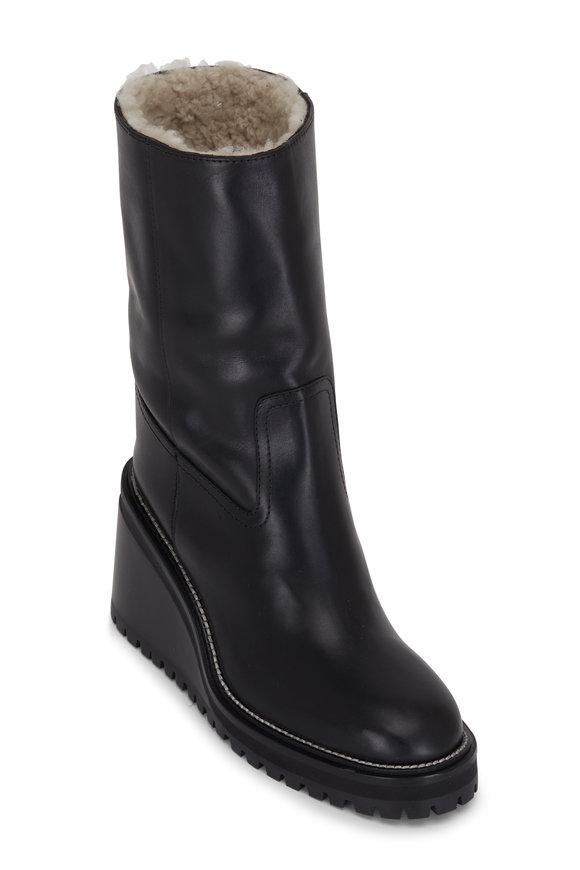 Jimmy Choo Yola Black Leather Wedge Boot, 80mm