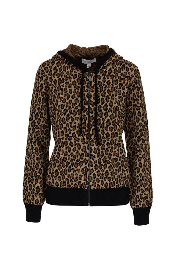 Michael Kors Collection Leopard Print Cashmere Hoodie