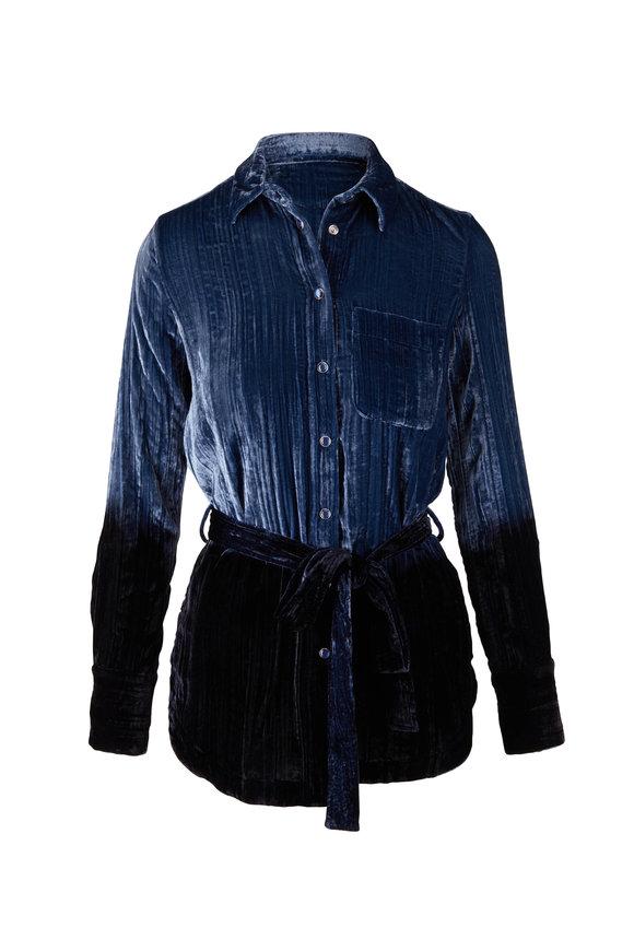 Golden Goose Beatrice Blue Velvet Shirt Jacket