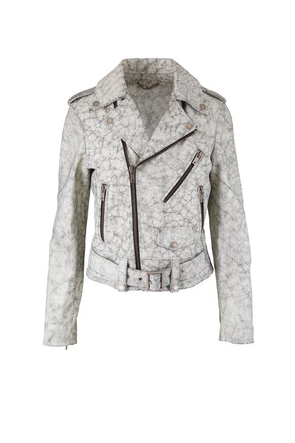 Golden Goose Destiny White Cracked Leather Moto Jacket