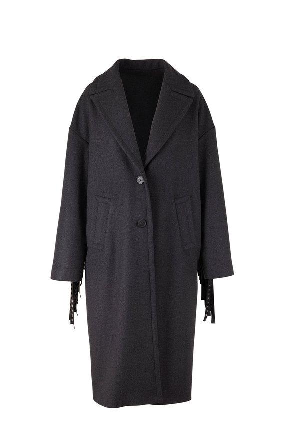 Golden Goose Betina Gray Studded Fringe Long Coat