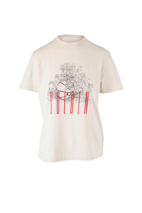 Golden Goose Ivory Floral Basketball T-shirt