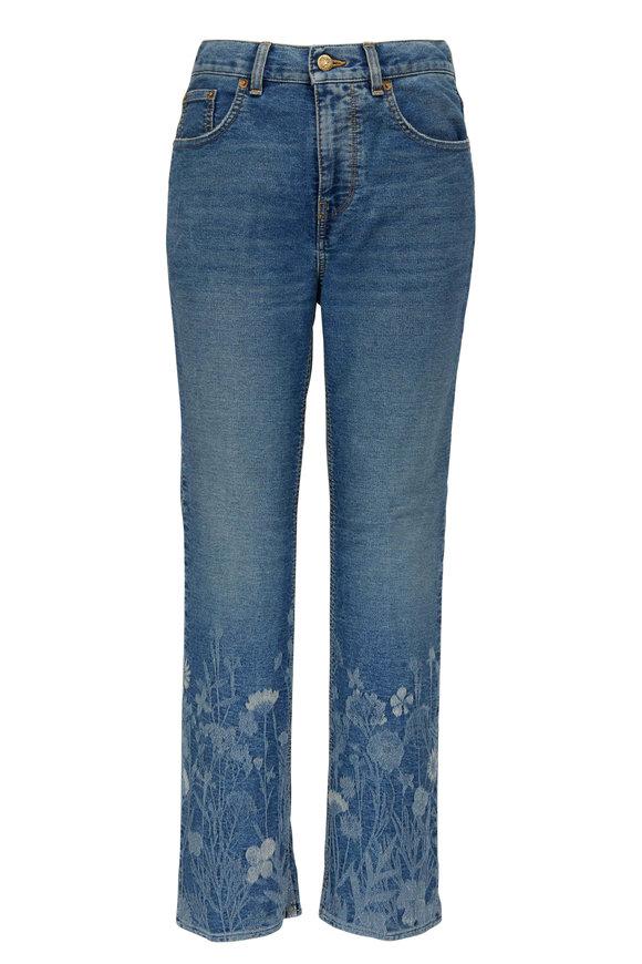 Golden Goose Deryn Blue Flower Jacquard Cropped Jean