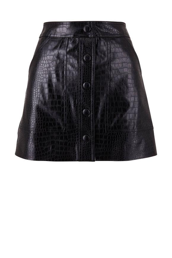 Veronica Beard Delfina Black Croc-Embossed Faux Leather Skirt