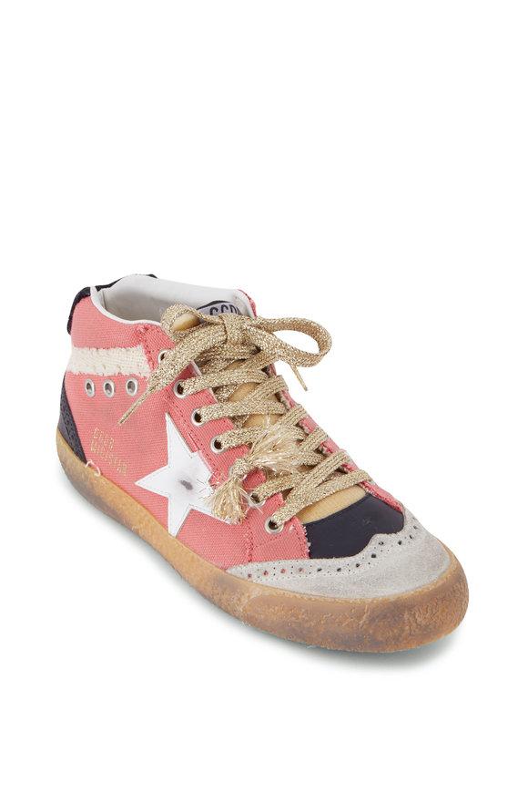 Golden Goose Midstar Salmon Canvas & White Star Sneaker