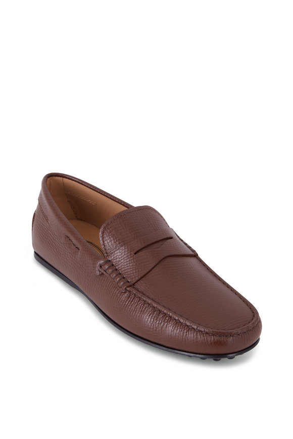 Tod's City Gommini Brown Textured Leather Penny Loafer