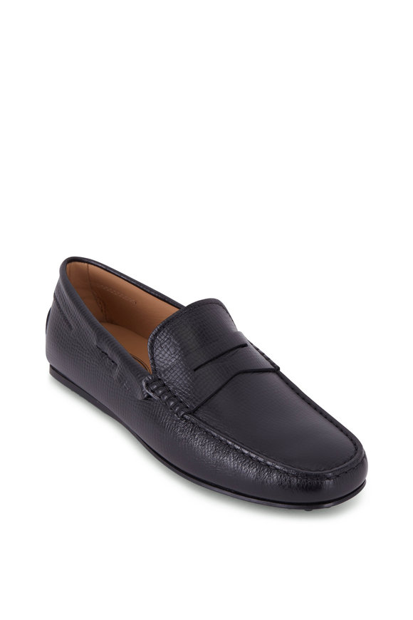 Tod's City Gommini Black Textured Leather Penny Loafer