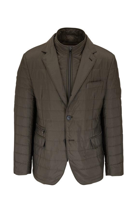 Corneliani Olive Quilted Dickey Jacket