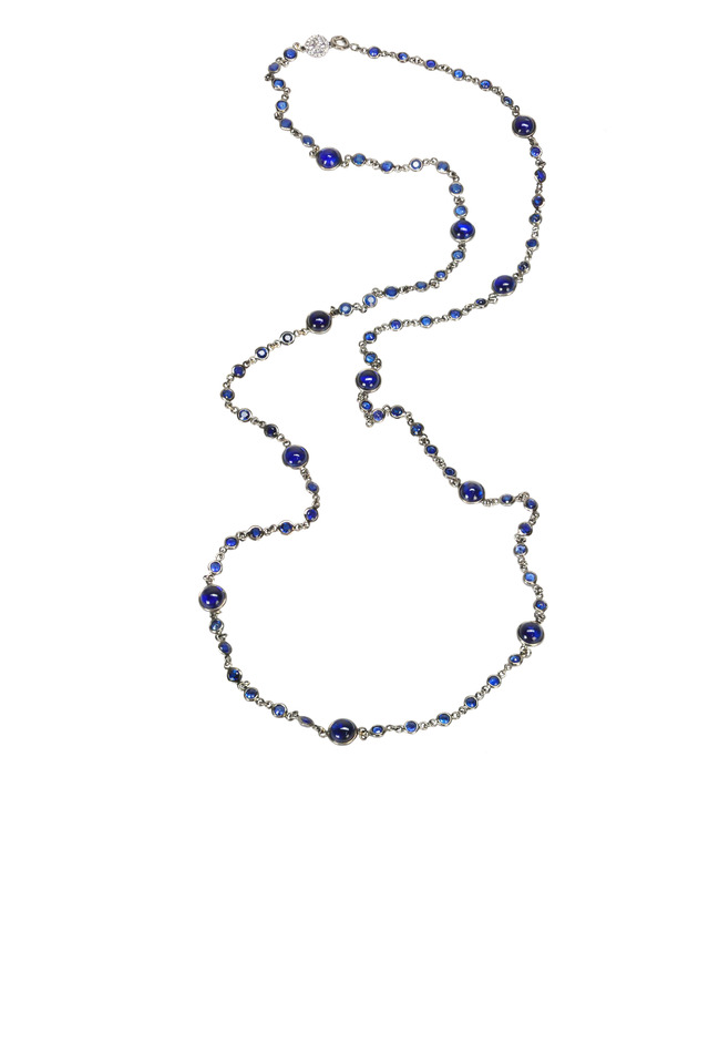 White Gold Sapphire & Kyanite Chain Necklace