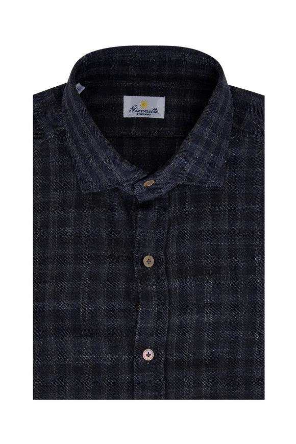 Giannetto Dark Grey Cotton Check Sport Shirt