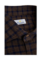 Giannetto - Brown & Navy Cotton Buffalo Check Sport Shirt