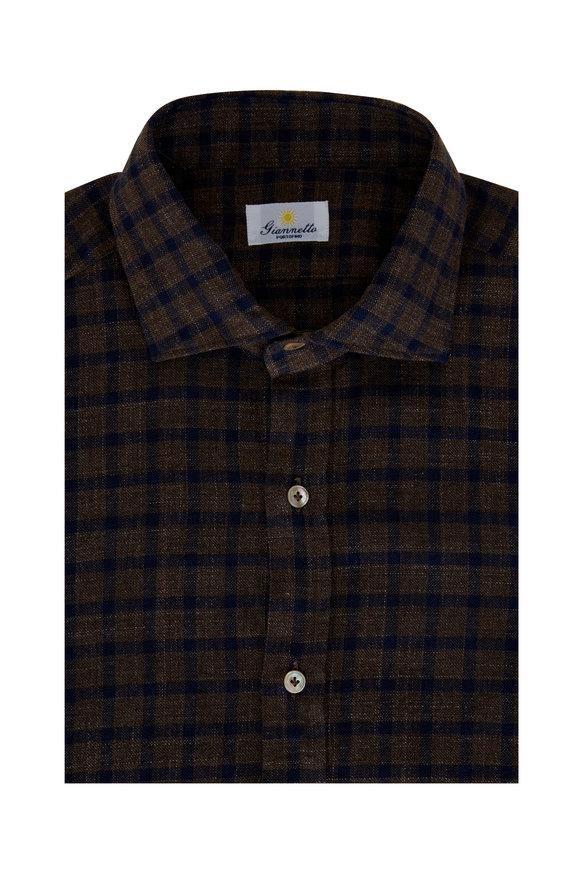 Giannetto Brown & Navy Cotton Buffalo Check Sport Shirt