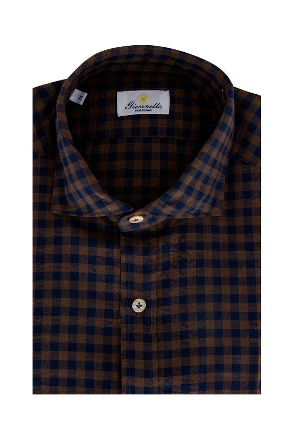 Giannetto Navy & Brown Gingham Sport Shirt