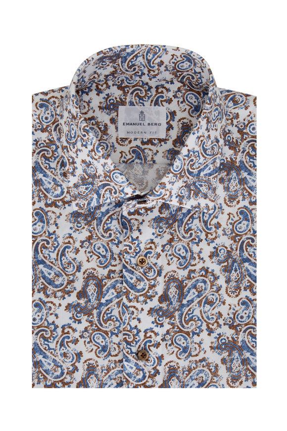 Emanuel Berg Brown & Navy Paisley Modern Fit Sport Shirt