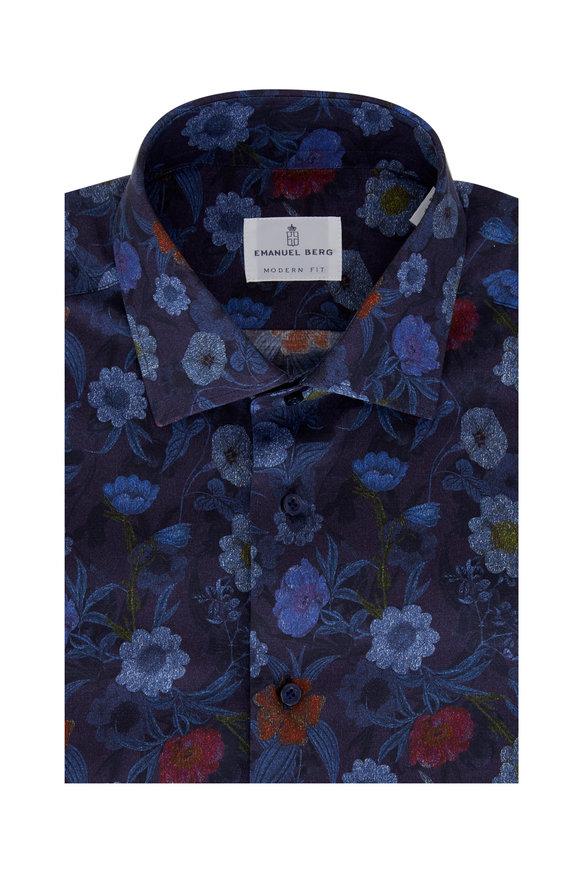 Emanuel Berg Navy Multi Floral Modern Fit Sport Shirt