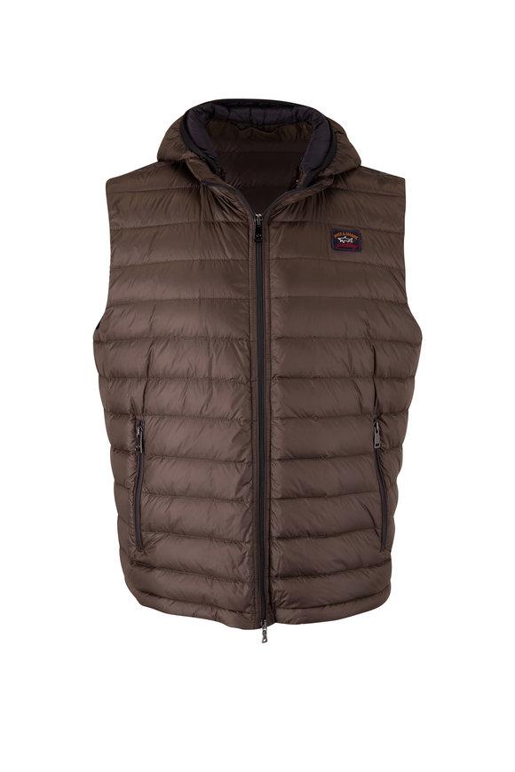 Paul & Shark Olive Hooded Ultralight Down Vest