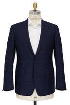 Atelier Munro - Navy Blue Wool Speckled Glen Plaid Suit