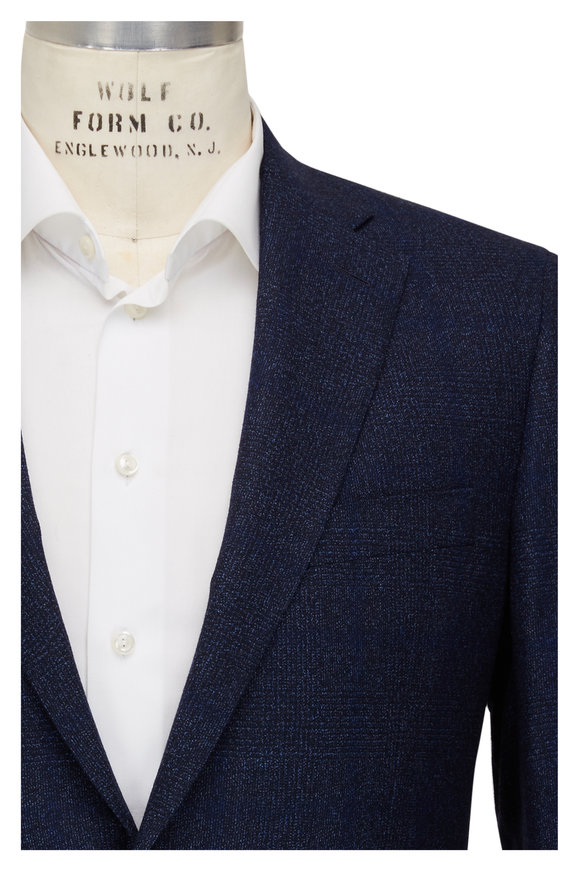 Atelier Munro Navy Blue Wool Speckled Glen Plaid Suit