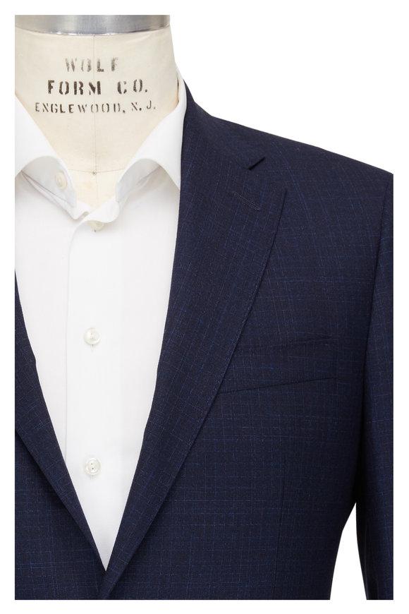 Atelier Munro Navy Windowpane Stretch Wool Suit