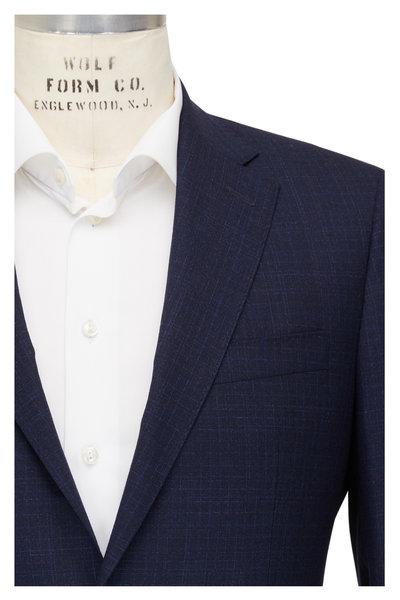 Atelier Munro - Navy Windowpane Stretch Wool Suit