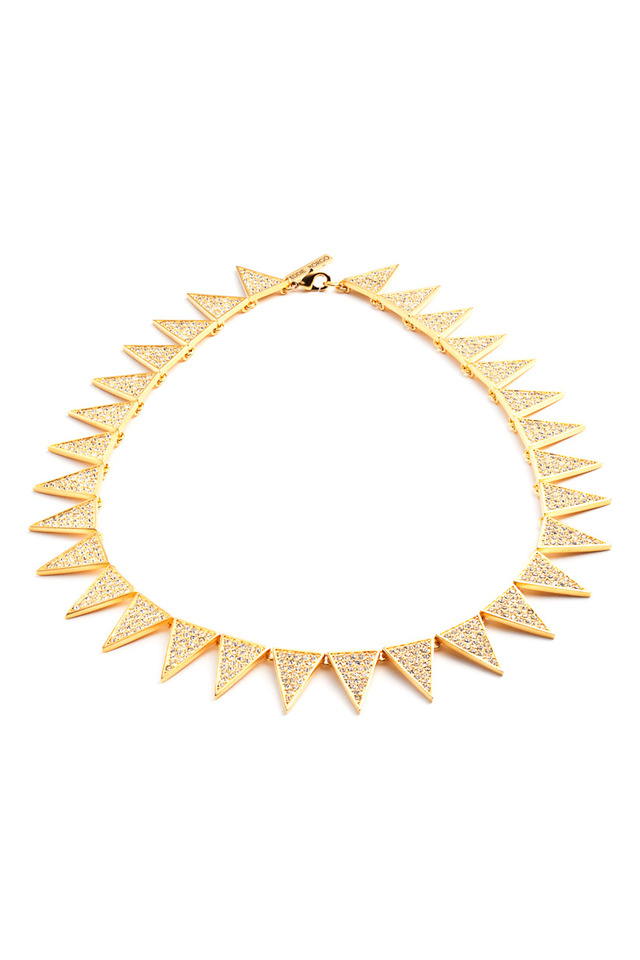 Brass Plated Pave Crystal Triangle Necklace