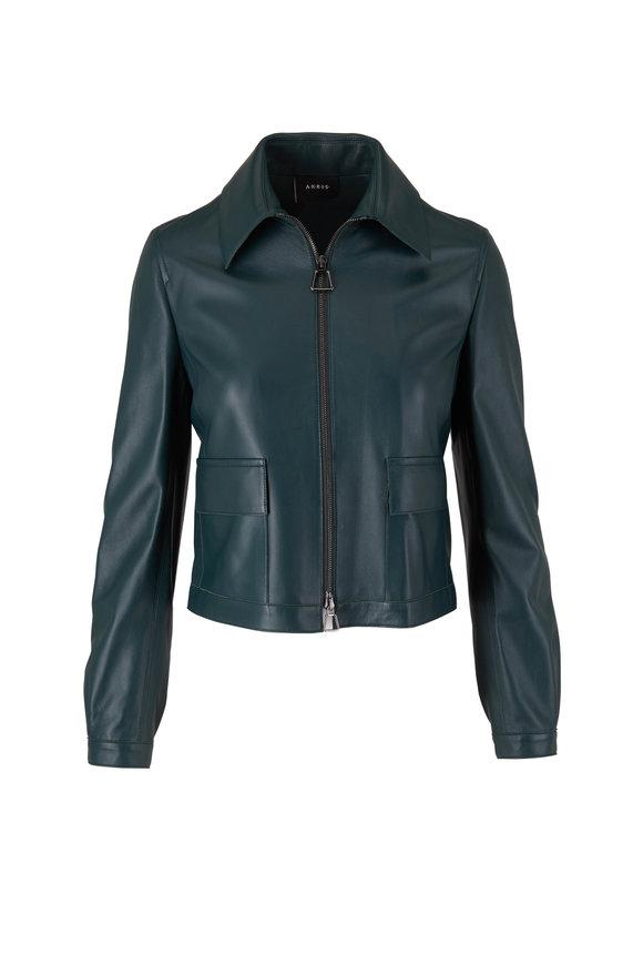 Akris Gallus Green Leather Crop Jacket