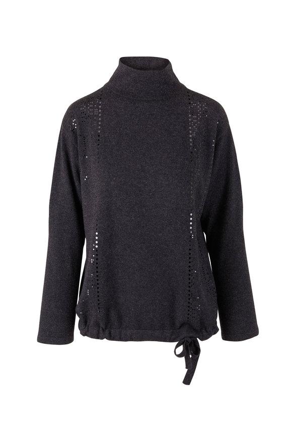 Akris Graphite Cashmere Sequin Sweater