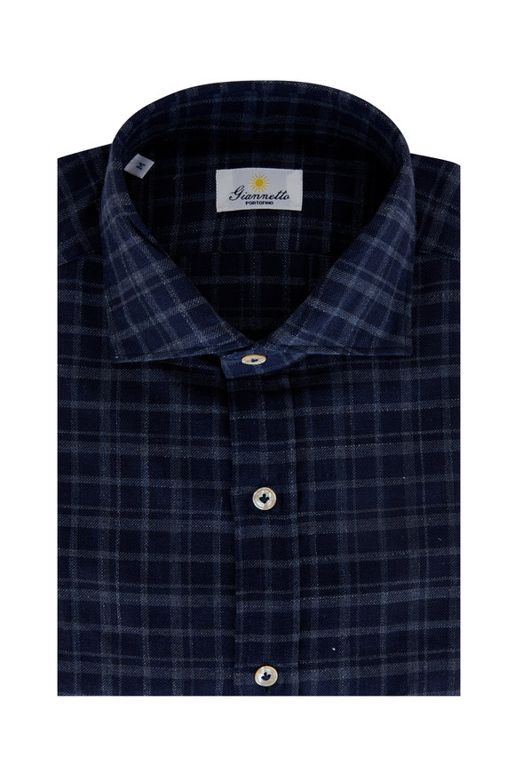 Giannetto Navy Check Cotton Sport Shirt