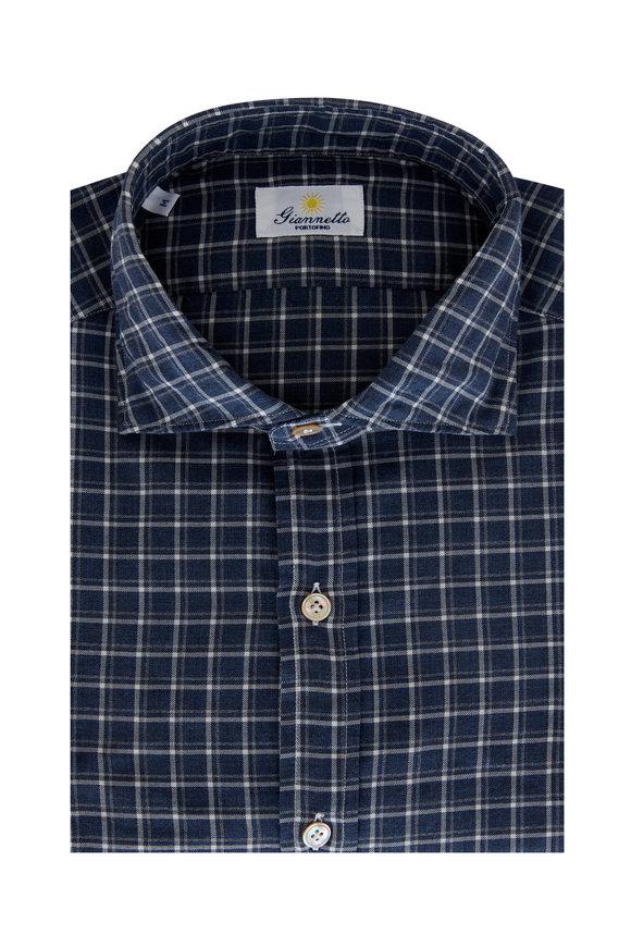 Giannetto Blue & Gray Check Cotton Sport Shirt