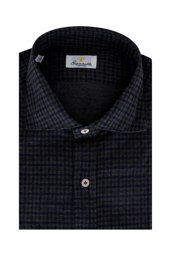 Giannetto Navy & Green Check Cotton Sport Shirt